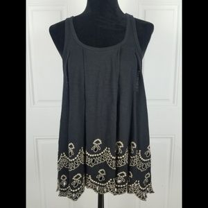 Free People Top Medium Embroidered Oversized Tank